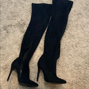 Black over knee heeled boots size 6